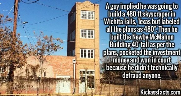 2626 Newby-McMahon Building-A guy implied he was going to build a 480 ft skyscraper in Wichita Falls, Texas but labeled all the plans as 480