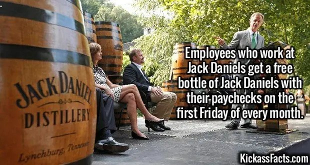 2401 Jack Daniels-Employees who work at Jack Daniels get a free bottle of Jack Daniels with their paychecks on the first Friday of every month.