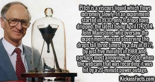 2428 Pitch Drop-Pitch is a viscous liquid which flows extremely slowly. In an experiment started in 1930, only 9 drops have dripped; the latest being April 17, 2014. John Mainstone, who oversaw the experiment, missed observing the drops fall three times, by a day in 1977, by just five minutes in 1988 and, perhaps most annoying, in 2000, when the webcam that was recording it was hit by a 20-minute power outage.