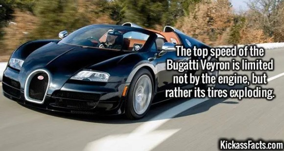 2481 Bugatti Veyron-The top speed of the Bugatti Veyron is limited not by the engine, but rather its tires exploding.