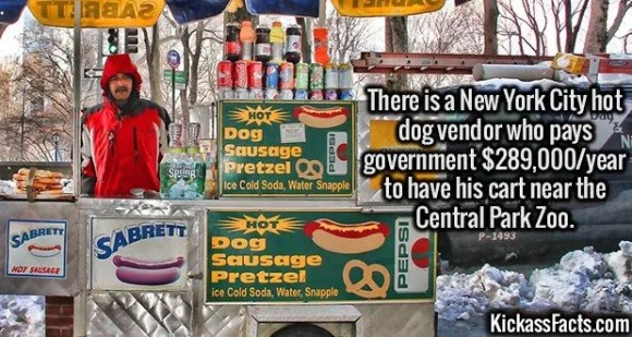 2626 NYC hot dog vendor-There is a New York City hot dog vendor who pays government $289,000/year to have his cart near the Central Park Zoo.