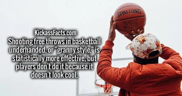 """Shooting free throws in basketball underhanded, or """"granny style,"""" is statistically more effective, but players don't do it because it doesn't look cool."""