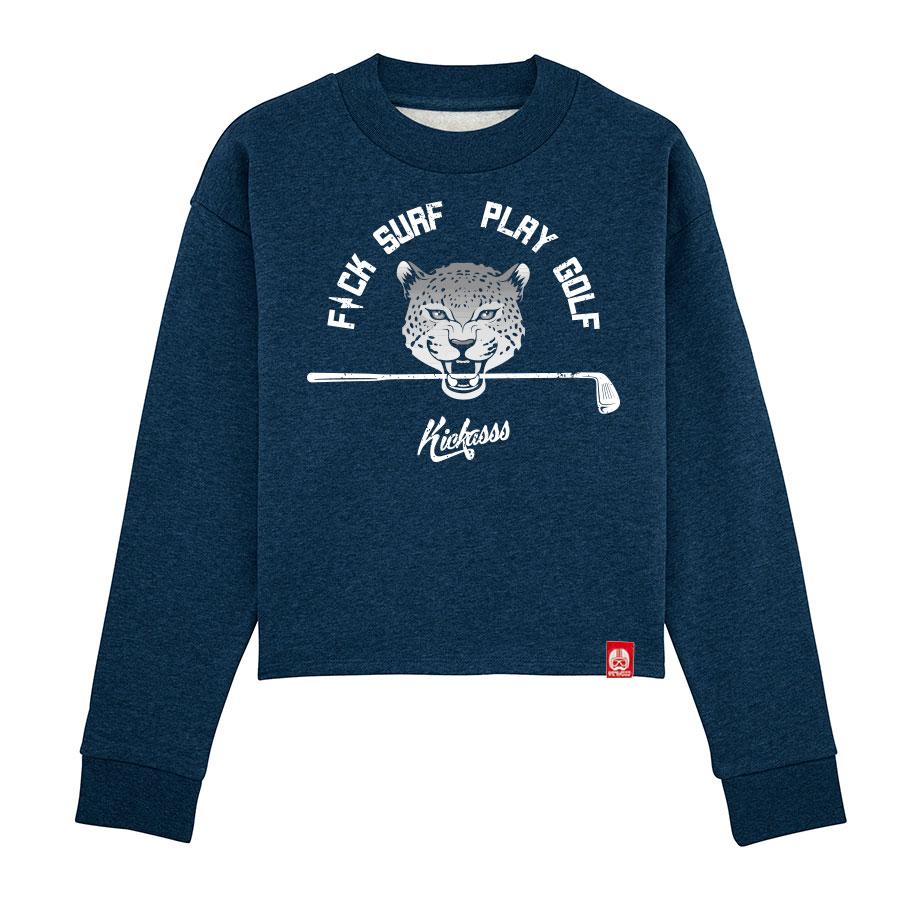 Sweat-shirt crop ample à col haut Fuck Surf Play Golf (black heather bluey)