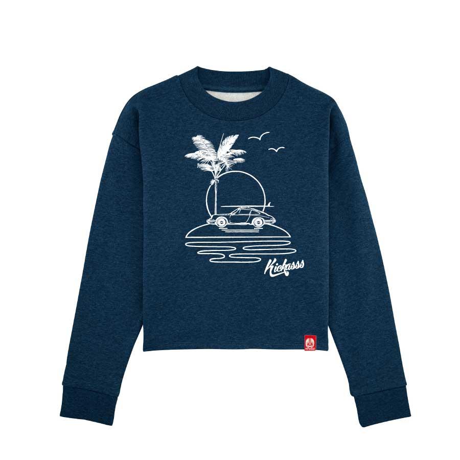 Sweat-shirt crop ample à col haut Kickasss All I Need (black heather blue)