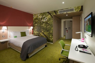 A room in the eco-friendly hotel
