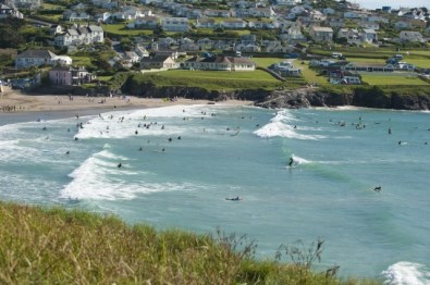 polzeath's popular surfing beach