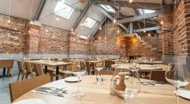 brick interior of Shears restaurant