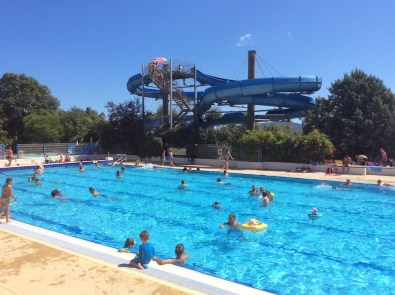 the Olympic sized pool and scary slides