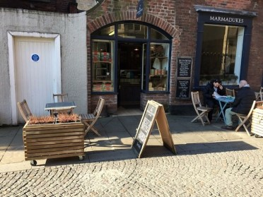exterior shot of coffee shop in the sun
