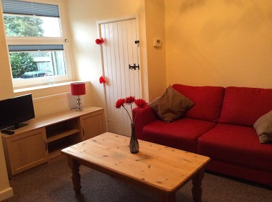 red sofa in a room