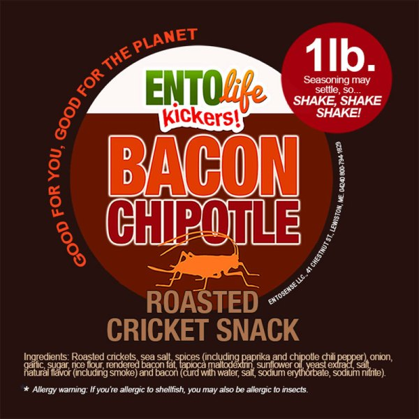 Bacon Chipotle Crickets Label