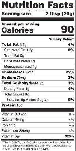 Cricket Nutrition Label