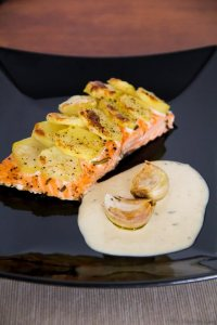 Salmon with Potatoes, Roasted Garlic & Tarragon Sauce @The Healthy Cook