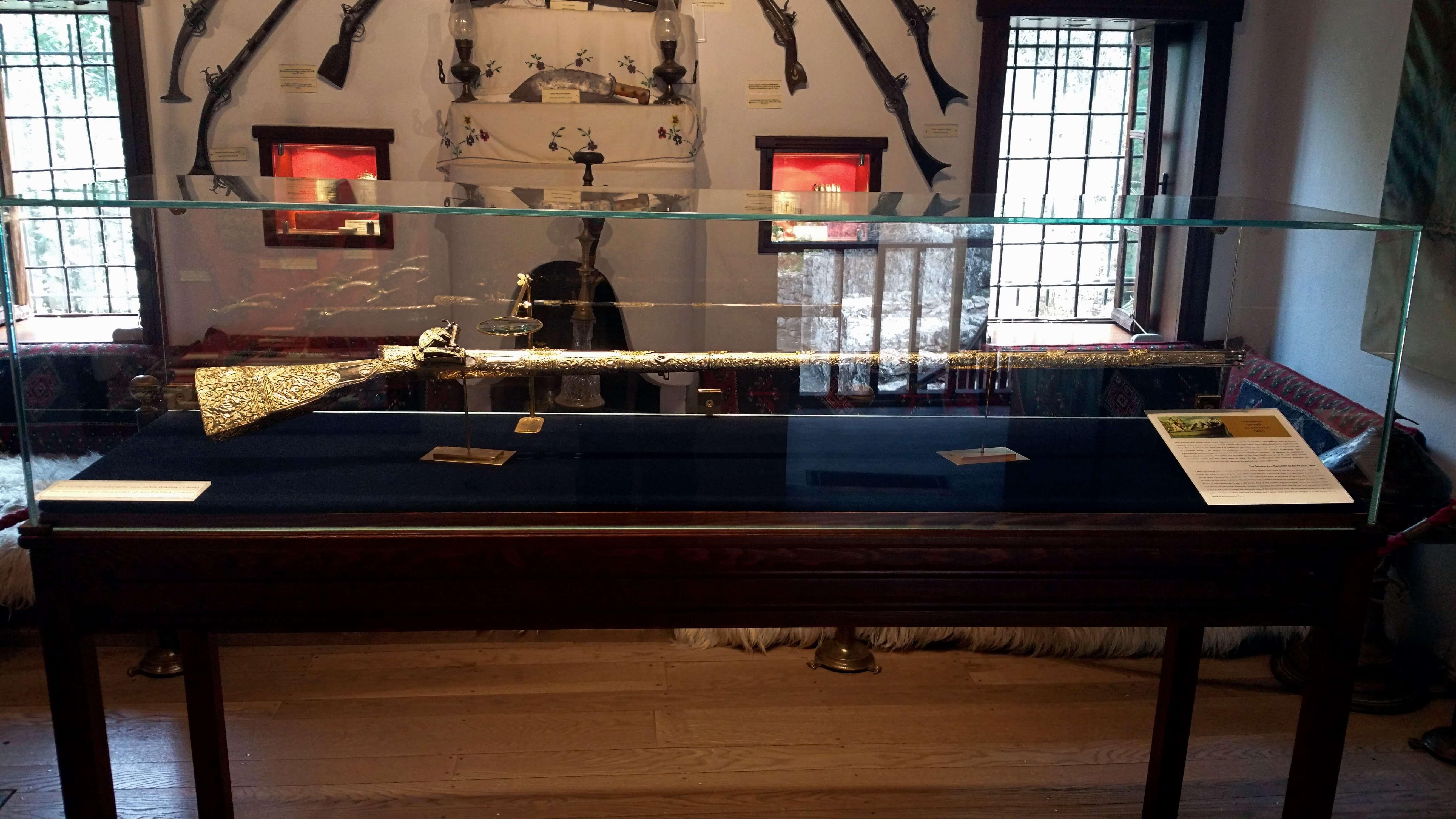 Ali Pasha's rifle - Ali Pasha Museum, Ioannina, Greece   Kicking Back the Pebbles