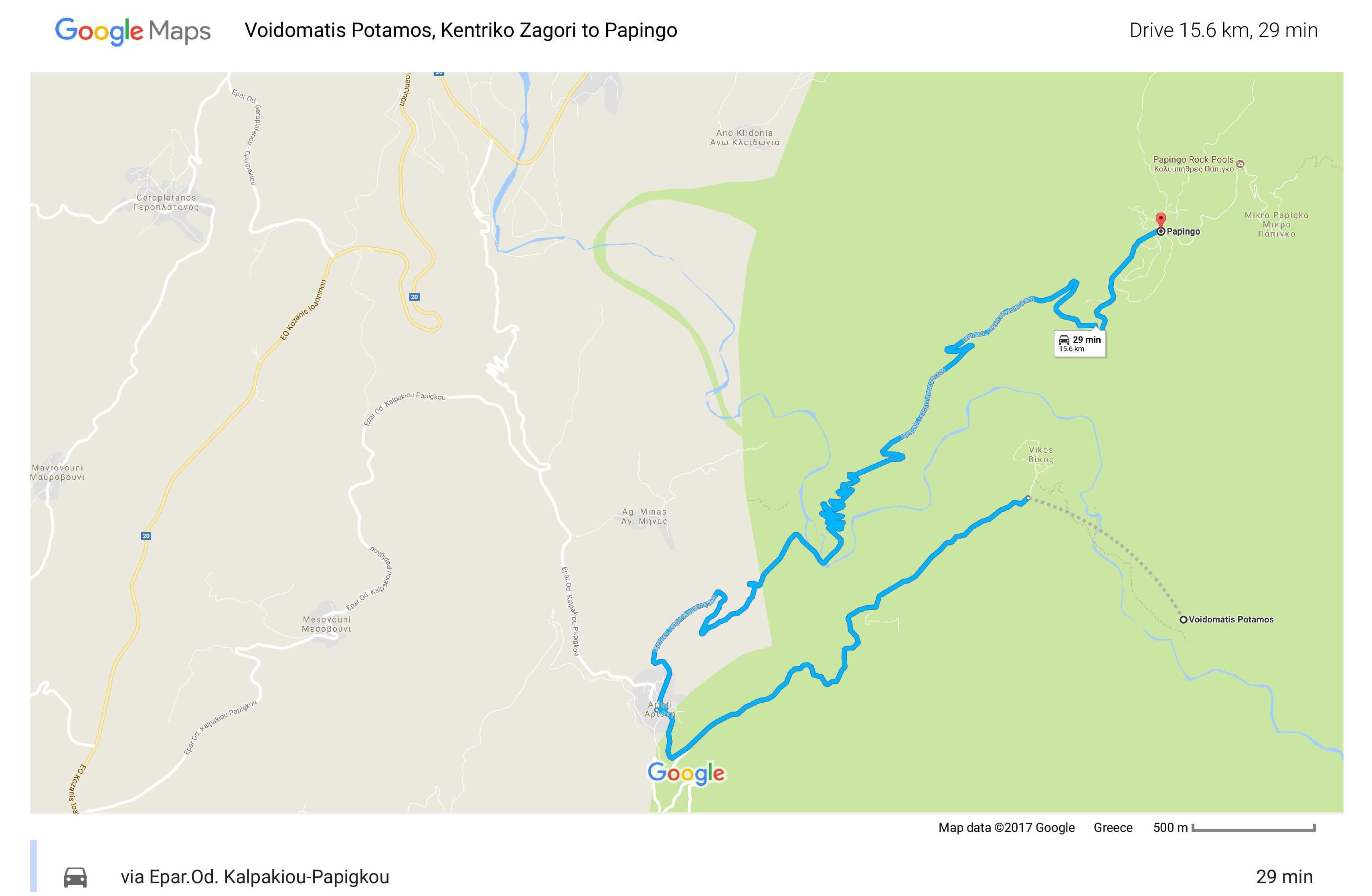Drive from Voidomatis River to Papigo