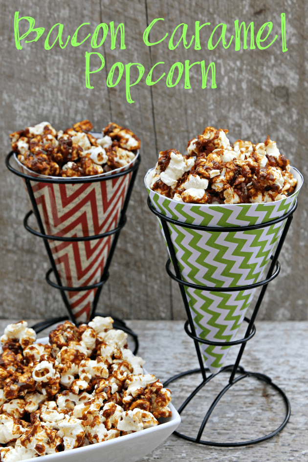 This Bacon Caramel Popcorn is the perfect easy appetizer recipe for your next party or a great after school snack for kids.
