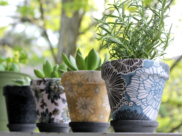 DIY Fabric Covered Flower Pots 2