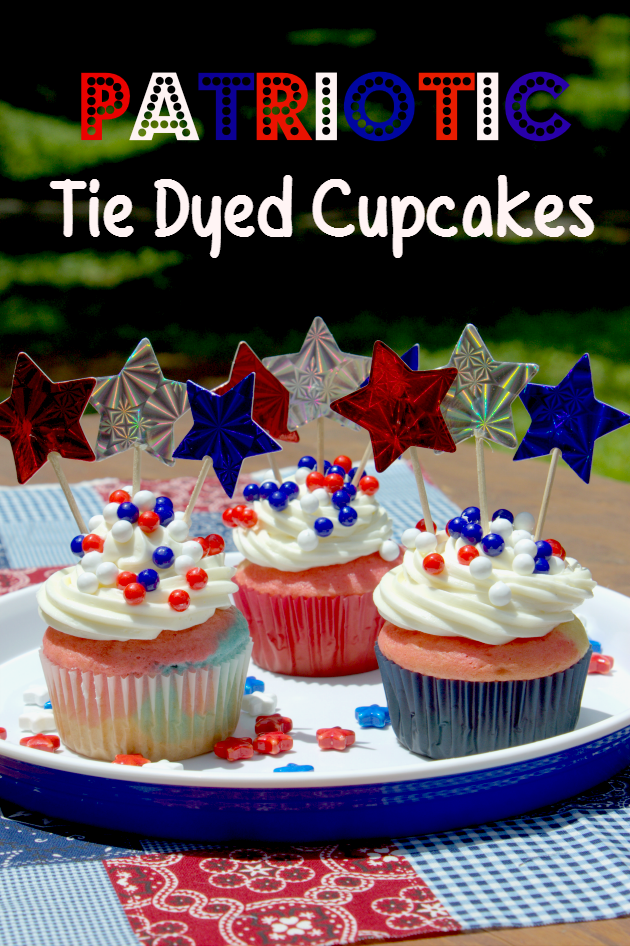 These Patriotic Tie Dyed Cupcakes are the perfect 4th of July snacks for kids! They are so easy to make, the kids can even help!