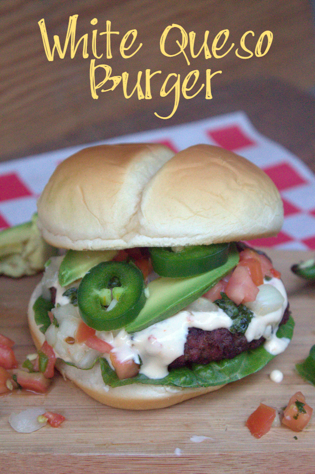 My White Queso Burger is perfect for your next game day party. It is juicy and has just the right amount of heat