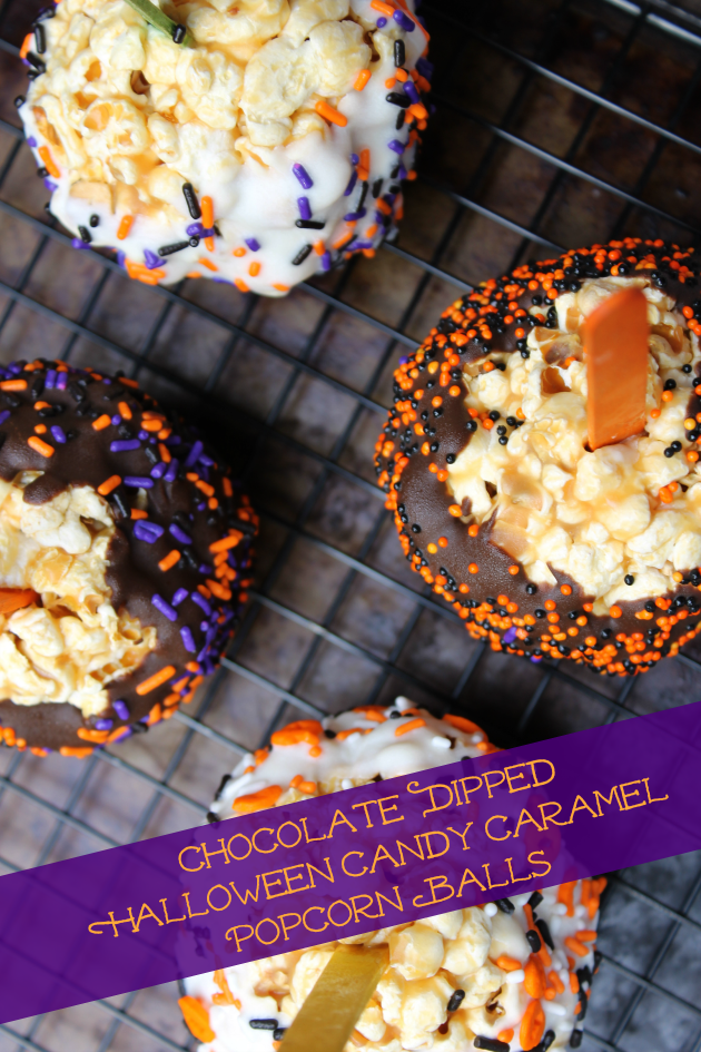Chocolate Dipped Halloween Candy Caramel Popcorn Balls pin1