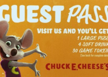 Chuck E. Cheese Guest Pass Giveaway!