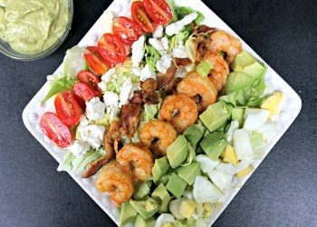 Spicy Shrimp Cobb Salad Recipe & Creamy Avocado Vinaigrette