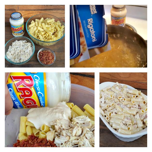 Cheesy Bacon Chicken Alfredo Pasta Bake colllage