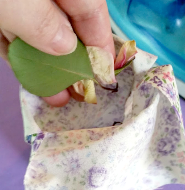 Step 4: Fill the bag with your potpourri, about 2/3 full.