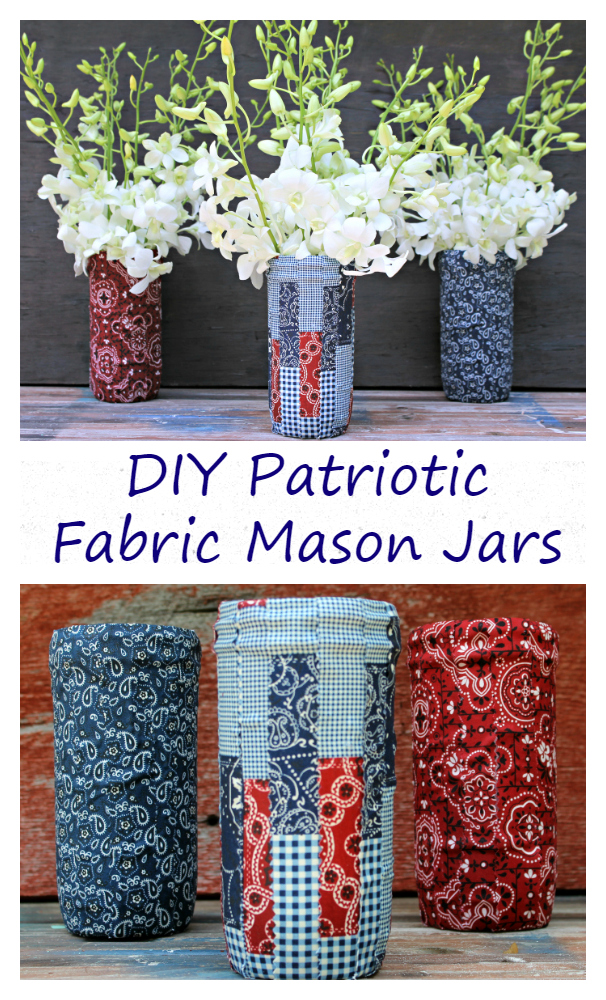 Fresh flowers in these DIY Patriotic Fabric Mason Jars are the perfect centerpiece for your 4th of July celebration!