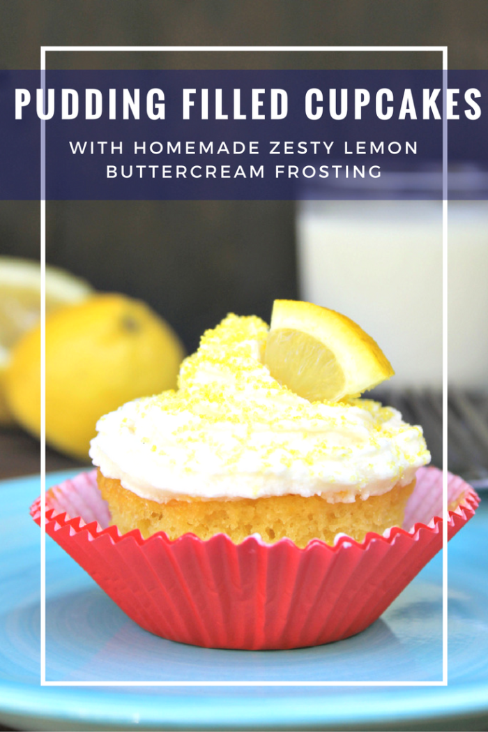 Pucker up! My Pudding Filled Cupcakes With Zesty Lemon Buttercream Frosting are the perfect balance between tart and sweet.