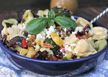 Roasted Summer Vegetable Tortellini Pasta Salad closeb