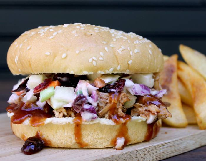 Easy Tailgating Recipe |  Crockpot Pulled Pork Sandwich with Cranberry Apple Slaw