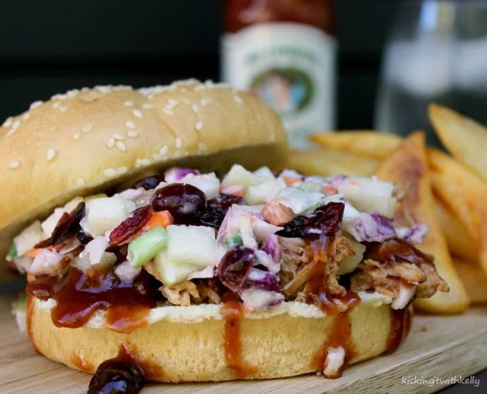 Crockpot Pulled Pork Sandwich With Cranberry Apple Slaw 2