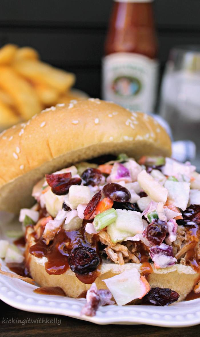 Crockpot Pulled Pork Sandwich With Cranberry Apple Slaw