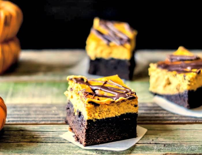 Double Chocolate Chip Pumpkin Cheesecake Brownies
