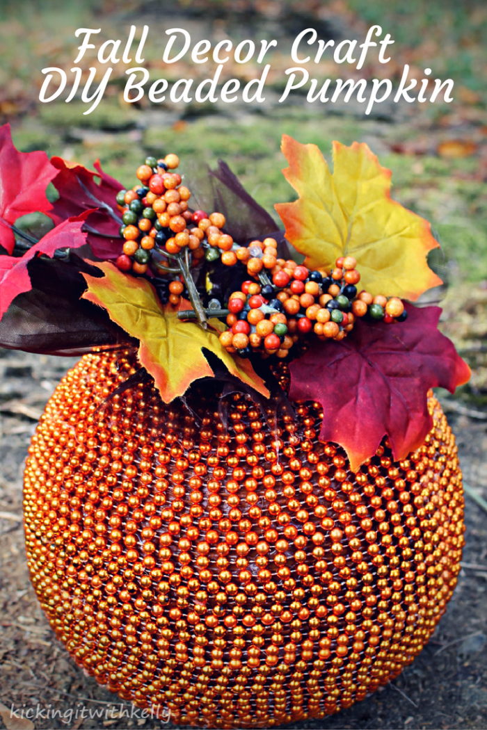 This DIY Beaded Pumpkin is an easy and affordable fall home decor craft that will add a touch of elegance to your holiday table!