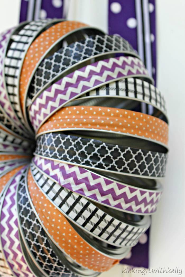 Washi Tape Mason Jar Bands Halloween Wreath tying rings