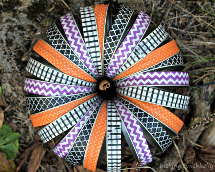 Washi Tape Mason Jar Bands Halloween Wreath outside top