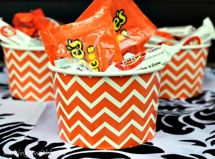 Fall Decoration Craft | DIY Beaded Pumpkin chevron bowls