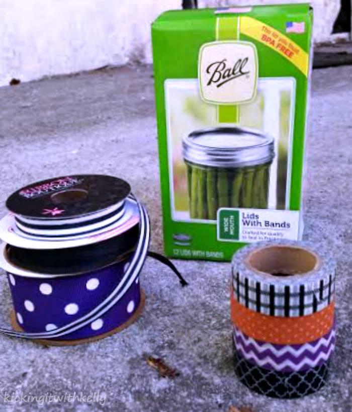 Washi Tape Mason Jar Bands Halloween Wreath supplies