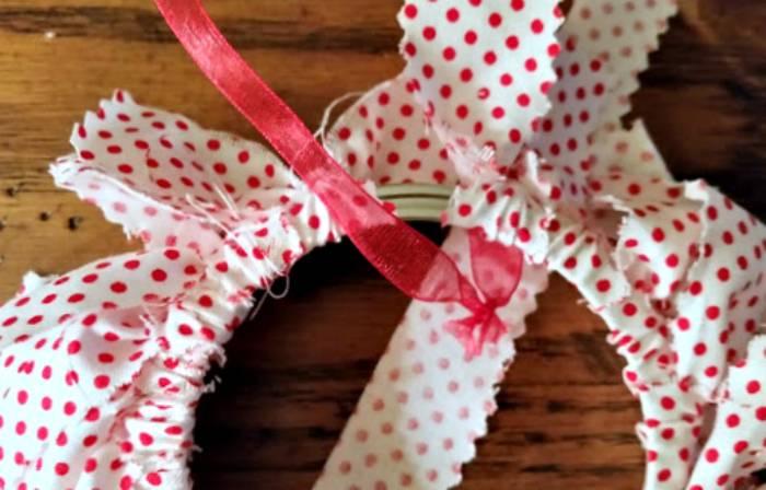 DIY Mason Jar Ring Fabric Wreath Ornaments ring