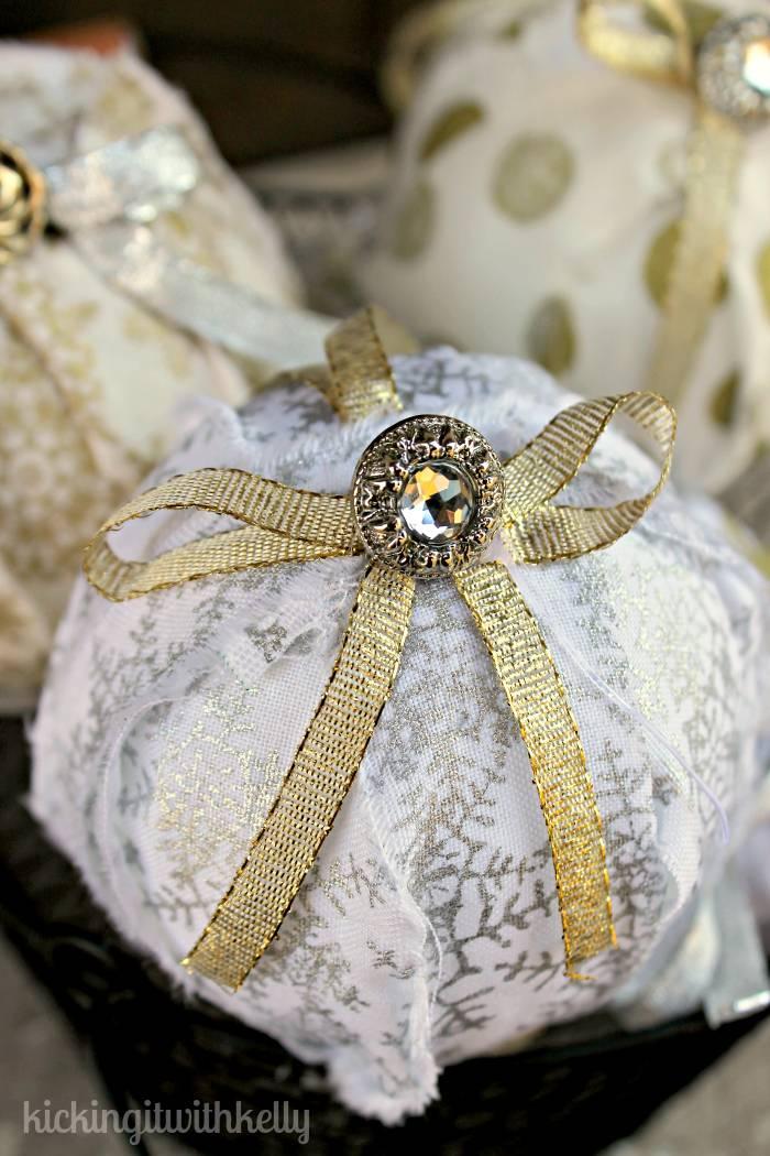 handmade Christmas Rag Ball Ornaments 2