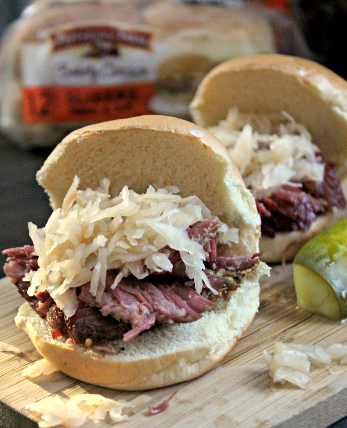 Beer Soaked Slow Cooker Pastrami Game Day Sliders buns pic