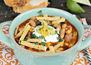 Skinny Slow Cooker Southwestern Black Bean Tortilla Soup