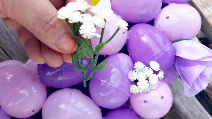 DIY Floral Easter Egg Wreath Tutorial flowers