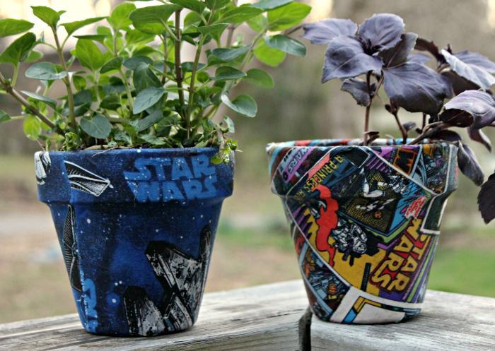 DIY Star Wars Fabric Covered Garden Pots suppplies