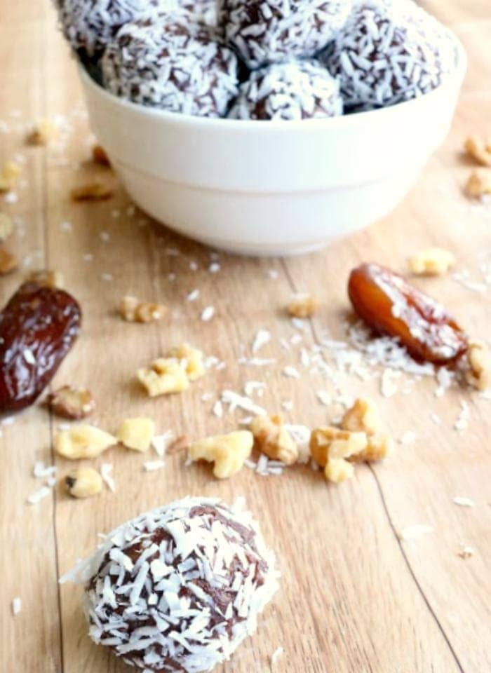 Looking for a recipe that is as good for you as it tastes? My Coconut Covered Chocolate Energy Balls are the perfect healthy snack!