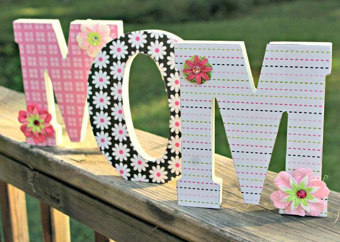 DIY Decorative Scrapbook Covered Wooden Letters 4
