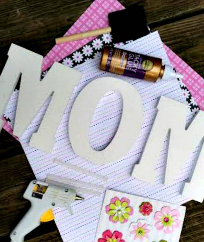 Scrapbook Paper Covered Letters Mothers Day Craft supplies