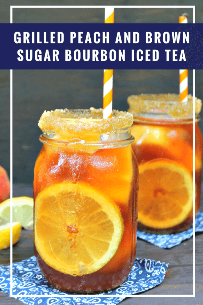 We live in the south, so we drink a lot of iced tea. A recipe handed down from my grandparents is one my husband I love, Their Grilled Peach And Brown Sugar Bourbon Iced Tea